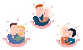 Vektorn ställde in av par, heterosexuell och homosexuellt vektor illustrationer
