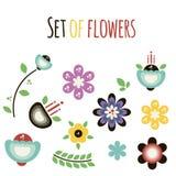 Vektorn ställde in av plana abstrakta blommor på en vit bakgrund royaltyfri illustrationer