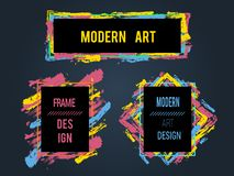 Vektorn ställde in av ramar och baner för text, modern konstdiagram, royaltyfri fotografi