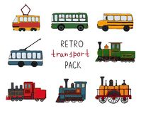 Vektorn ställde in av retro motorer och kollektivtrafik Vektorillustration av tappningdrev, buss, spårvagn, trådbuss som isole stock illustrationer