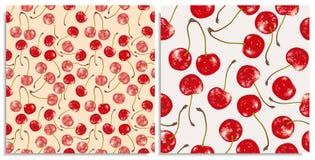 Vektorn ställde in av sömlösa modeller med hand-drog saftiga och läckra rika röda körsbär, med viktig och omredigeringar vektor illustrationer