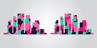 Vektorn ställde in av stadskonturer med moderiktiga geometriska rörelseformer, ljusa färger vektor illustrationer