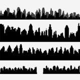 Vektorn ställde in av svart olik horisontalcityscape arkivbild