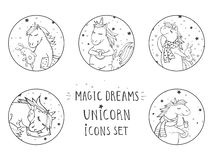 Vektorn ställde in av svarta symboler med utdragna gulliga enhörningar för handen Smsa - MAGISKA DRÖMMAR royaltyfri illustrationer