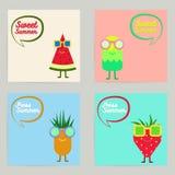 Vektorn ställde in av tropisk samling för kort för sommarfrukttecken Sommarförsäljningsbakgrund för affischen, reklamblad, brosch vektor illustrationer