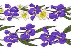 Vektorn ställde in med sömlösa blom- vårgränser royaltyfri illustrationer