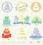 Vektorn ställde in: Retro bröllopstårtaetiketter och etiketter Arkivbild