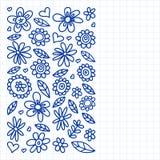 Vektorn st?llde in av barnet som drar blommasymboler i klotterstil M?lat dragit med en penna, p? ett ark av rutigt papper p? ett  vektor illustrationer