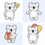 Vektorn st?llde in av gulliga koalatecken vektor illustrationer