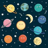 Vektorn st?llde in av planeter f?r barn stock illustrationer