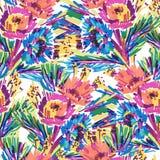 Vektorn stiliserade blommor målade markören Arkivfoto