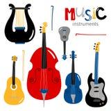 Vektorn stringed musikinstrumentsymboler som isolerades på vit bakgrund royaltyfri illustrationer