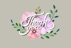 Vektorn tackar dig kortdesignen med eleganta vattenfärgblommor Royaltyfri Bild