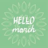 Vektorn ut för bokstäver för den Hello marshanden skrivar den skriftliga, våraffisch, inspirerande citationstecken Royaltyfri Foto