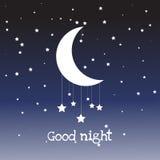 Vektornachtszene mit Mond und Sternen Stockbild