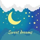 Vektornachtszene mit Mond und Sternen Stockfotos