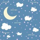 Vektornachtszene mit Mond und Sternen nahtlos Stockfoto