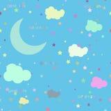 Vektornachtszene mit Mond und Sternen nahtlos Lizenzfreie Stockbilder