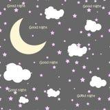 Vektornachtszene mit Mond und Sternen Nahtloses Muster Stockfotos