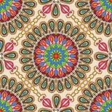 Vektornahtlose Beschaffenheit Schönes Mandalamuster für Design und Mode mit dekorativen Elementen in der ethnischen indischen Art Stockfoto