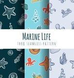 Vektornahtloser Musterhintergrund Underwater und Marine World Lizenzfreie Stockfotos