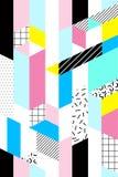 Vektornahtloses geometrisches Muster Memphis-Art Abstraktes 80s Stockfotografie