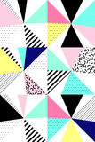 Vektornahtloses geometrisches Muster Memphis-Art Abstraktes 80s Stockfotos