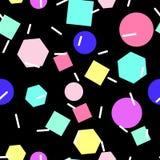 Vektornahtloses geometrisches Muster Memphis-Art Abstraktes 80s Stockfoto