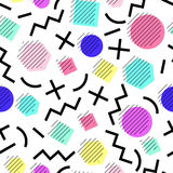 Vektornahtloses geometrisches Muster Memphis-Art Abstraktes 80s Lizenzfreie Stockbilder