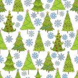 Vektornahtloses Muster des Weihnachtsbaums Schablone für Postkarten Lizenzfreies Stockbild