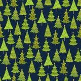 Vektornahtloses Muster des Weihnachtsbaums Schablone für Postkarten Lizenzfreies Stockfoto