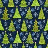 Vektornahtloses Muster des Weihnachtsbaums Schablone für Postkarten Lizenzfreie Stockfotos