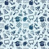 Vektornahtloses Muster mit Ausbildungsikonen Lizenzfreie Stockbilder