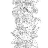 Vektornahtloses Muster mit Blumen stockbild