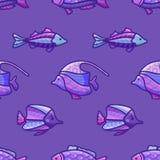 Vektornahtloses violettes Unterwasserozeanmuster Lizenzfreie Stockfotografie