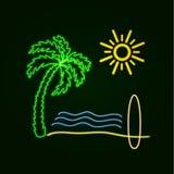 Vektorneon som surfar illustrationen: Glöda gömma i handflatan, havvågor, sandstranden och det Sufr brädet vektor illustrationer