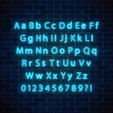 Vektorneonartguß Glühendes Neonalphabet mit den Versalien- und Kleinbuchstaben auf dunklem Backsteinmauerhintergrund stock abbildung
