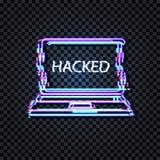 Vektorneonbärbara datorn med det Glitched ordet hackade på skärmsymbolen, tekniskt feleffekt, isolerad glänsande illustration royaltyfri illustrationer