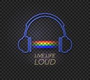 Vektorneonhörlurar och regnbågemusikljus, Live Life Loud stock illustrationer
