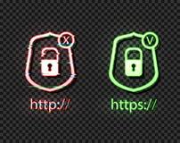 Vektorneonsymboler: http- och httpsprotokoll med låset, ljusa symboler, kontrollen och korset: Högra och fel symboler, tekniskt f vektor illustrationer