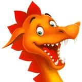 Vektornetter lächelnder glücklicher Drache als Karikatur oder Spielzeug Stockfotografie