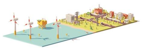 Vektorniedriges Polywindkraftanlage-Kraftwerk vektor abbildung