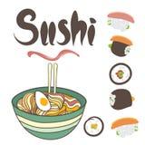 Vektornudlar och sushi Arkivbilder