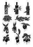 Vektoroliv och symboler för olivoljaprodukt vektor illustrationer