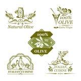 Vektorolivsymboler för organisk olivolja stock illustrationer