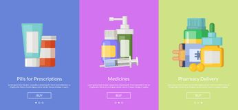 Vektoronline-apotekmall för köpande mediciner royaltyfri illustrationer