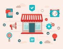 Vektoronline-shoppingbegrepp stock illustrationer