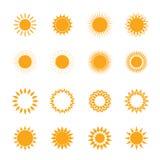 Vektororangensatz von Sun Stockbild