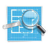 Vektororientering med Lens stock illustrationer