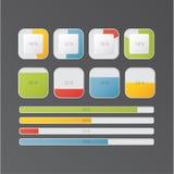 Vektorpäfyllnings- och framstegstänger för website eller applikation Royaltyfri Illustrationer